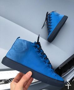 New Balenciaga Arena Get them at: by sneaker. New Balenciaga, Balenciaga Arena, Fancy Shoes, Me Too Shoes, Toms Shoes For Men, Blue Wedge Shoes, Mens Designer Shoes, Prom Shoes, Sneaker Brands