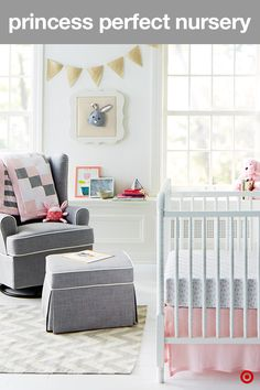 Create the sweetest nursery with beautiful hues of pink, gray and white. The soft color palette and on-trend patterns is the perfect style for your little princess. Start with organic Burt's Bees crib bedding. The quilt conveniently reverses from a tile pattern to stripes, and the fitted crib sheets can easily be mixed and match. Add in the traditional DaVinci Jenny Lind 3-in-1 convertible crib, and the Eddie Bauer glider and matching ottoman and you're set. Just don't forget the crown.