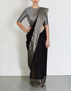 Handwoven Black Gita Saree Raw Mango