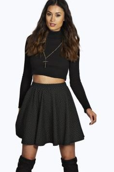 Lucia Panelled Jacquard Knit Skater Skirt at boohoo.com