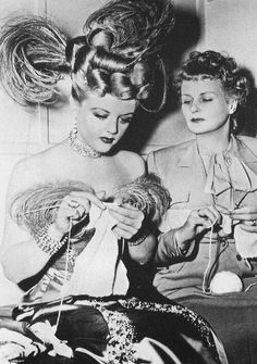 Angela Lansbury and her mother, Moyna MacGill knitting on the set of The Harvey Girls (1946)