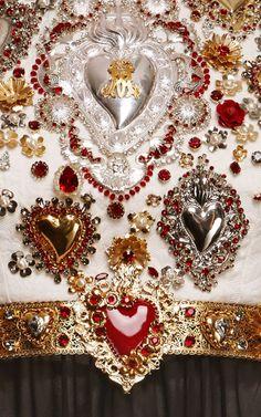 Sacred Heart Embellished Sleeveless Combo Dress by Dolce & Gabbana for Preorder on Moda Operandi