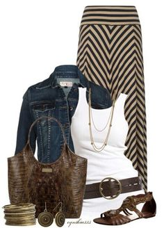 Love this maxi skirt, the white tank, the denim jacket accented by the dark browns - summer yes