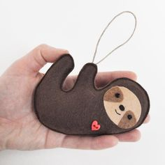 Items similar to Sloth Christmas Ornament- Baby Shower - Party Favor on Etsy Felt Christmas Decorations, Felt Christmas Ornaments, Christmas Tree, Xmas, Felt Diy, Felt Crafts, Sewing Crafts, Sewing Projects, Christmas Sloth