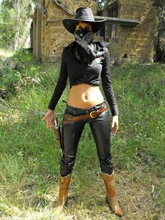 Leather pants gun fighter