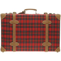 Pieces Helfried Large Tartan Suitcase ($106) ❤ liked on Polyvore