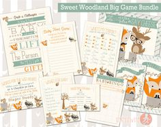 Sweet Woodland Baby Shower Big Bundle Games | Forest Friends Shower | Woodland Animals Don't Say Baby, Who's My Mama, Wishes, and More!