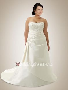 [$189.00] Chic Strapless Embroidery Ruched Plus Size Wedding Dress
