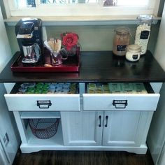 $35! Criags list find, repainted, stripped and re-stained the top, some hardware and ta da! Coffee bar, cocoa station, tea counter :)