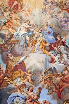 Sebastiano Conca. The Coronation of the Virgin. Santa Cecilia in Trastevere. Fresco. Ceiling. Central Nave. Roma ITALY. 18th century