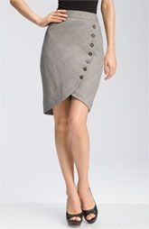 Business skirt :: Tulip Pencil Button Wrap Grey Wear to Work