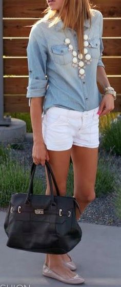 Chambray Top + Statement Necklace