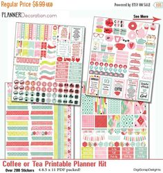 INDSD SALE Coffee or Tea? Printable Planner Kit 4 PDF, Over 200 Stickers Ec or Happy Planner, Bible Verses, Cups, Latte, Icons #planner #ikat #coffee #tea #digiscrapdelights