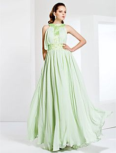 Jewel Neck Floor-length Chiffon Stretch Satin Evening/Prom D... – USD $ 117.99