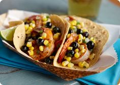 Spicy Shrimp Tacos with Blueberry Corn Salsa Recipe - Blueberries and corn combined in a salsa with fresh cilantro and jalapeno are a nice contrast to shrimp spiced with cumin and chili powder. Cook the shrimp in the same skillet for less cleanup. Cilantro Salsa, Corn Salsa, Spicy Shrimp Tacos, Meal Plans To Lose Weight, Blueberry Recipes, Blueberry Ideas, Good Healthy Recipes, Skinny Recipes, Amazing Recipes