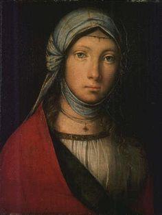 'Gipsy girl' (1516) by Italian painter Boccaccio Boccaccino (1467-1525). Tempera on wood, 24 x 19 cm. via virtual Uffizi Gallery