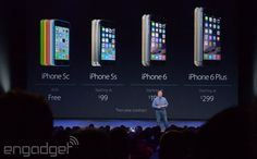 Engadget- Apple drops price of 5S to 99 dollars, 5C is free on contract. iPhone 6 is 199 and iPhone 6+ starts at 299 on contract.
