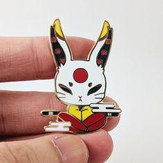 Familiar Spirits: White Hare Enamel Pin by Xiune on Etsy