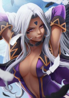 aa_megami-sama armpits arms_up breasts choker cleavage dark_skin detached_sleeves elbow_gloves gloves highres lips long_hair looking_at_viewer medium_breasts navel purple_gloves silver_hair smile solo urd violet_eyes Skins Characters, Black Anime Characters, Female Characters, Illustration Manga, Illustrations, Fantasy Art Women, Fantasy Girl, Manga Pictures, Girl Pictures