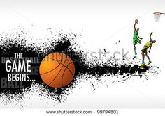 illustration of basketball player playing on abstract grungy background