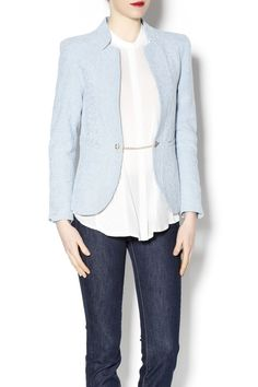 Collarless powder blue blazer with gold chain closure. Super fun blazer that looks great with patterned skirts and colorful trousers.   Powder Blue Blazer by Lucy & Co.. Clothing - Jackets, Coats & Blazers Clothing - Jackets, Coats & Blazers - Jackets - Blazers Chicago, Illinois