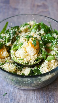 Couscous Salad in Avocado Bowls. A fun, healthy, fresh salad and only 10 minutes to make!