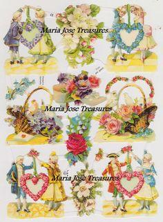 Antiguos Cromos Pegatinas Parejas y Flores por MariaJoseTreasures