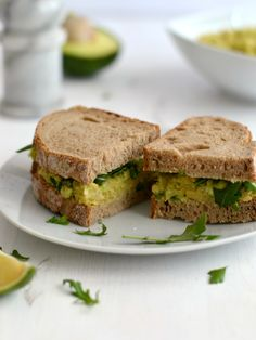 Mashed chickpea avocado sandwich