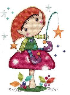Lazy Days - Elfin Wood. New cute Elf cross stitch kit by The Stitching Shed - part of a new range of 'Elfin Wood' designs.