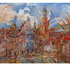 Anton Sulek (Polish, 1951-1988), Town square, Poland, signed and dated (19)82 upper left, oil, framed. 50cm by 55cm.