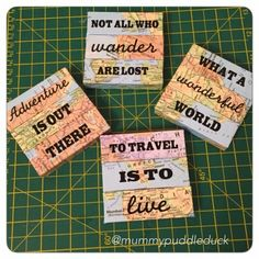Map coasters #tutorial #DIY #Craft #handmade #travel #gift @Cricut  Mummypuddleduck
