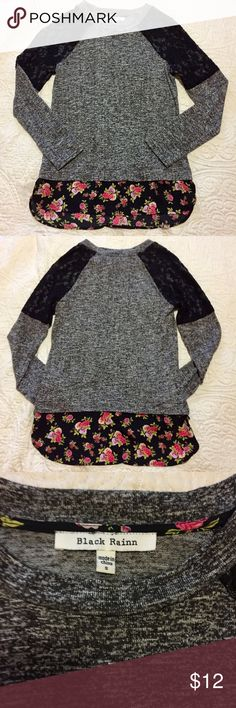 """ADORABLE  Lace & Rose Sweatshirt Top SZ S This top / shirt / sweatshirt sweater by Black Rainn is super cute and in excellent condition ! Size Small. Gorgeous rose pattern at the bottom of the hem. Features a high low style (higher in the back). Measurements: From top to bottom laying flat the back is 27"""" long and the front is 25"""" long. Armpit to armpit is 17"""". Sleeve length is 28"""" from center of the back along the shoulder down to the end of the sleeve. PacSun Tops Sweatshirts & Hoodies"""