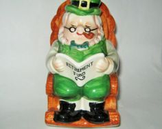 Saint Patrick's Day Leprechaun Elf Bank Retirement Fund Porcelain