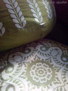 Embroidered floor pillows for any room.  From Saks to Salvation