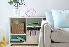 4 Home Hacks You Should Try Now! Mix function and fashion with these quick improvements. With sensible storage options, deceiving design tips and a quick DIY project, you can keep your things organized while maintaining a stylish space. Home Organization Hacks, Storage Hacks, Hidden Storage, Storage Solutions, Organizing, Bookshelf Storage, Shelving, Home Hacks, Home Decor Inspiration