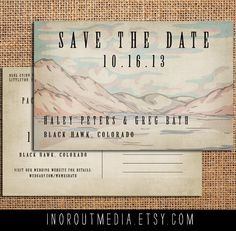 Rustic Save the Date Card, Mountains, Rustic Wedding - oversized, large format, woodland wedding, woods, Vintage, Antique, lake wedding
