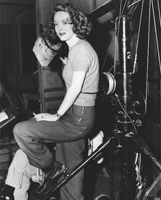 Bette Davis behind the scenes of Dark Victory, 1939 being a fan is hard darling