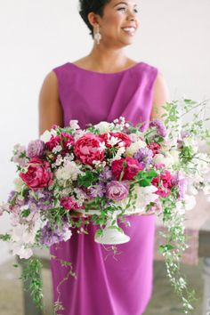 Gorgeous pink and purple floral arrangement, in an antique silver garden urn. #wedding #flowers