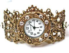 Brass Women Wrist Watch  - Vintage Style - Swarovski Victorian Gothic  Wedding Jewelry on Etsy
