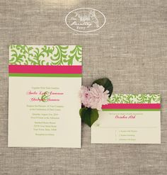 Simple, traditional Spring or Summer Wedding Invitation Stationery Set from The painting Pony. Custom colors available upon request to match your wedding's theme! This set shows a pretty hot pink and lime green wedding invite set with the elegant distressed floral damask pattern.