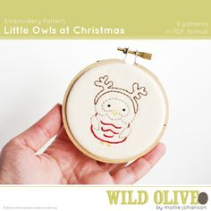 Little Owls at Christmas Embroidery Pattern