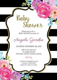 Bebé azul bebé ducha invitación flores por StrawberryPartyPrint