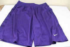 NIKE  men  shorts (L) large 100% polyester purple pre-owned #Nike