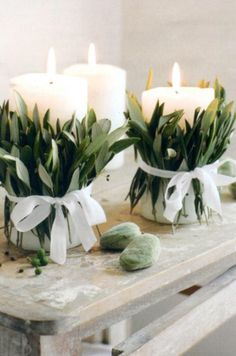 Candles and greens.