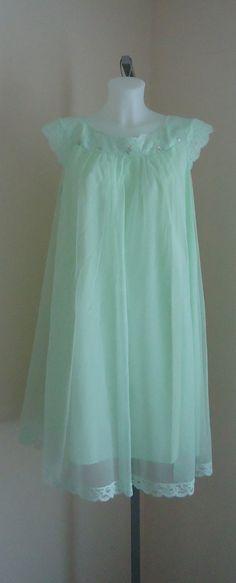 Vintage 1960s Shadowline Pale Green Chiffon Nightgown on Etsy, $68.90 CAD