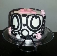 Black, Pink and White 21st Birthday Cake