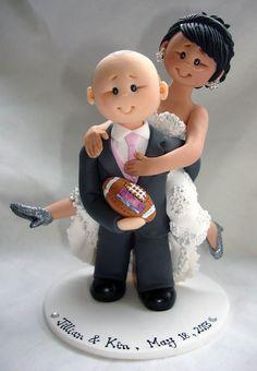 Groom piggybacking bride rugby theme wedding cake by ALittleRelic