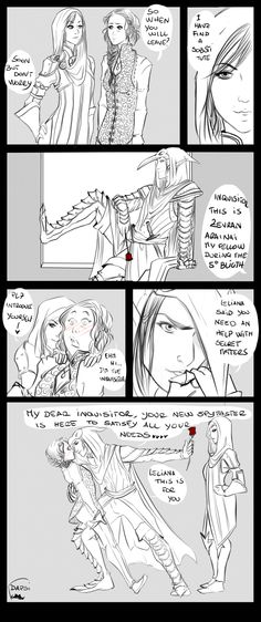 alexielapril:  The New Spymaster by AlexielApril   Dammit,my Divine is Leliana and i need a new spymaster…but i think i find a solution^^