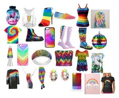 """It is my type of day rainbow day"" by crazy-awesomeness ❤ liked on Polyvore featuring art"