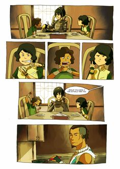 lin and su at the table,with Tokka Avatar Aang, Avatar Legend Of Aang, Avatar The Last Airbender Funny, The Last Avatar, Avatar Funny, Team Avatar, Avatar Airbender, Legend Of Korra, Lin Beifong